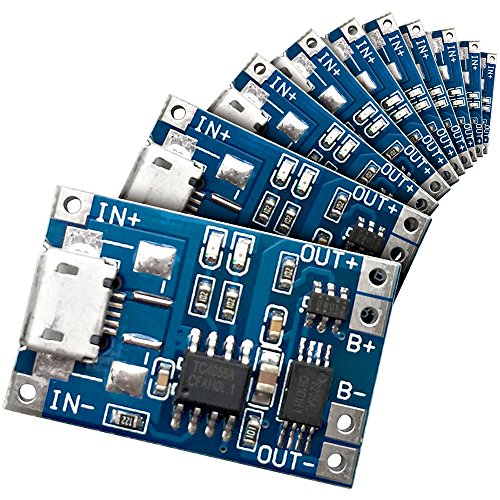 10 Stück Washati TP4056 PLUS mit Akkuschutz IC - 5V, 1A Lademodul für Li-Ion und LiPo Akkus mit Micro USB Port