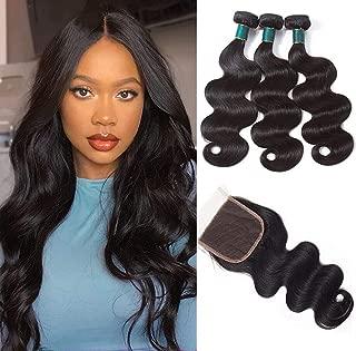 Brazilian Body Wave Bundles With Closure 100% Unprocessed Virgin Human Hair 3 Bundles With Lace Closure 16 18 20+14 Natural Color
