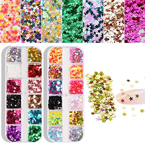24 Color/Set 3D Star Butterfly Nail Art Glitter Sequins, Colorful Nail Sparkle Glitter Sticker Decals for Nail Art Make Up Decoration Accessories Manicure (Star)
