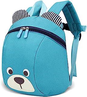 Mochila Infantil para Niños y Niñas de 2-5 Años, Carita de Oso (26 * 13 * 21CM), Azul Claro.