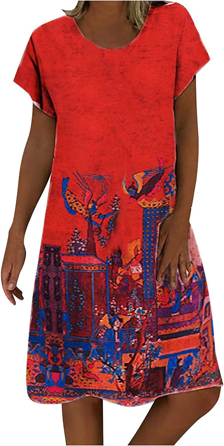 Dress for Women Knee Length Midi Pr Abstract SALENEW very popular! Summer Gifts Casual
