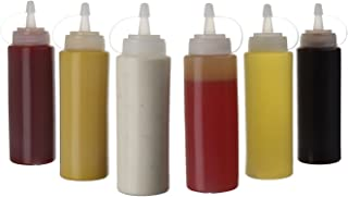 (6pk) 16 oz Plastic Squeeze Squirt Condiment Bottles with Twist On Cap Lids - top dispensers for ketchup mustard mayo hot ...