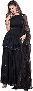 Yashika Fashion Women's Black Georgette Salwar Suit