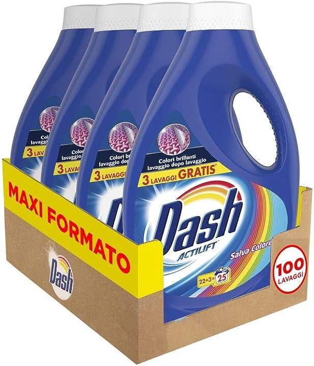 Detersivo dash lavatrice liquido salva colore, formato convenienza 100 lavaggi, 4 confezioni da 25 lavaggi 8001841498867