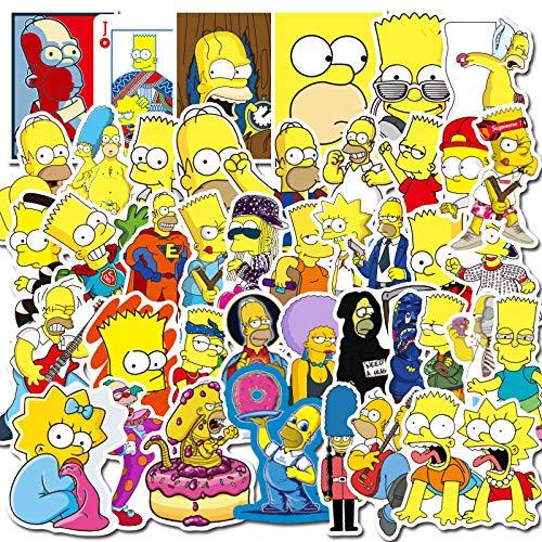 BLOUR 100 Pegatinas de Graffiti de la Familia Simpson, Caja de Palanca para Tarjeta de Marea, Taza de Agua para Ordenador, Bolsa de Pegatinas Impermeable para Coche