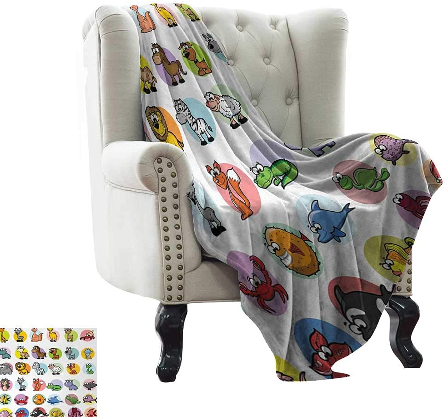 Reversible Blanket Funny Cute Cartoon Style Animals Set colorful Dots Doodle Jungle Life Kids Room Design Cozy for Couch Sofa Bed Beach Travel 60  Wx60 L Multicolor