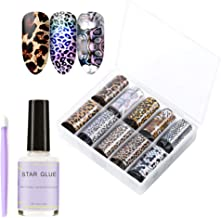 Leopard Nail Foil Transfer, Nail Art Stickers for Women,Tips Wraps Foil Transfer Adhesive Glitters Acrylic DIY Decoration with Nail Foil Glue&Manicure Stick(10 Colors Vintage, 1.57 inch × 47.24 inch)