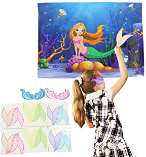 Mermaid Party Favors Pin the Tail on Mermaid Party Game Under the Sea Party Game Mermaid Birthday Party Gift Decoration Su...