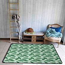 Banana Leaf Area Floor Rugs Hand Drawn Cartoon Style Leafage of an Exotic Fruit Tree Tropical Paradise Dining Room Home Bedroom W55 x L78 Forest Green