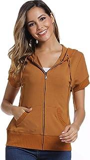 MISS MOLY Women's Short Sleeve Hoodie Full Zip Up Thin Cotton Slim Fit Sweatshirt Kanga Pocket Royal Blue