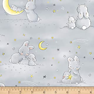 Timeless Treasures 0581897 Star Bunnies and Little Ones Moons Grey Fabric by The Yard