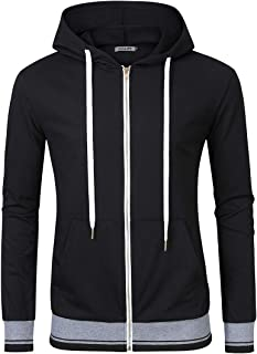Kuulee Men's Long Sleeve Slim Fit Zip-up Hoodie Sweatshirt with Kanga Pocket