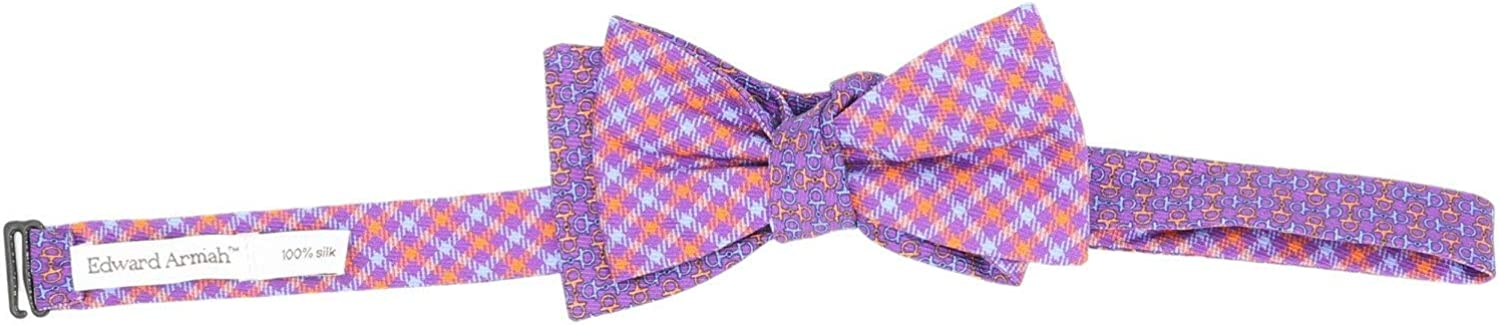Edward Armah Men's Double Sided Checks and Chain Links Bow Tie