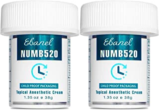 Ebanel 2-Pack 5% Lidocaine Topical Numbing Cream Maximum Strength, 2.7 Oz Pain Relief..