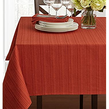 Textured Fabric Tablecloth, Bison, 60  x 104  Rectangular
