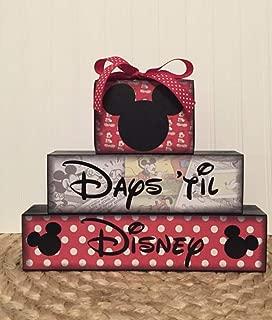 Disney themed vacation countdown chalkboard wood blocks