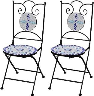 UnfadeMemory Sedie da Bistrot Pieghevoli 2 pz in Ceramica Terracotta