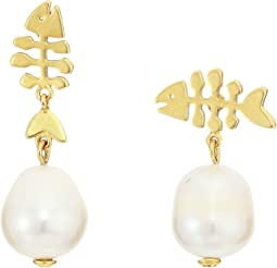Fish and Pearl Drop Earrings