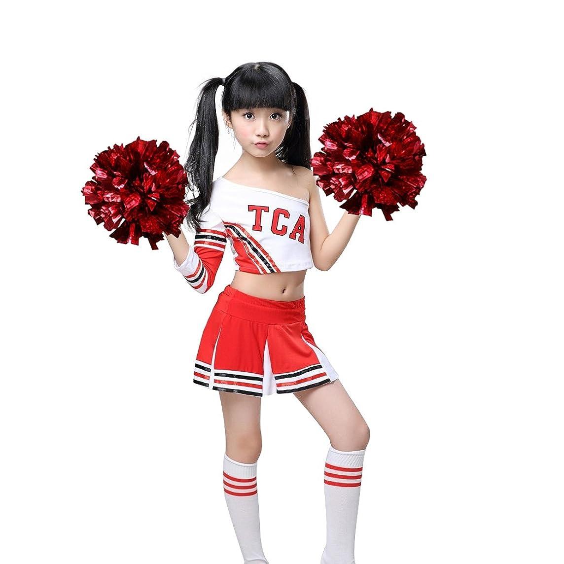 Girls Red & White Cheerleader Outfit + Poms Socks Cheer Uniform Dress 3-15Yrs