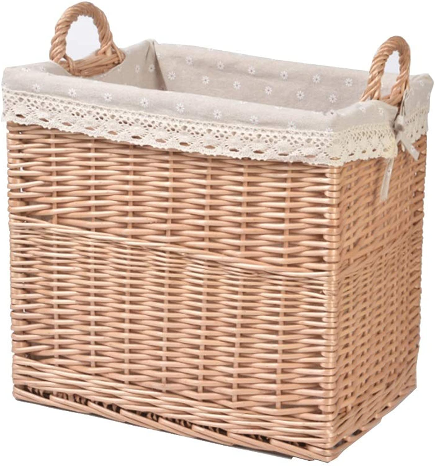 ZHANGQIANG Storage Basket Laundry Basket Woven Large Storage Basket Toy Storage Box Hamper (color   Wood color+Snow Lining, Size   35  45  40cm)