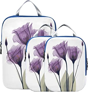 Packing Cube for Travel 3pcs, Oil Flower Ultralight Organizers for Luggage Compression Cubes Suitcase Packing Bag Lightwei...