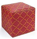 Fab Habitat Tangier Cube, Pouf Orange Peel & Rouge Red