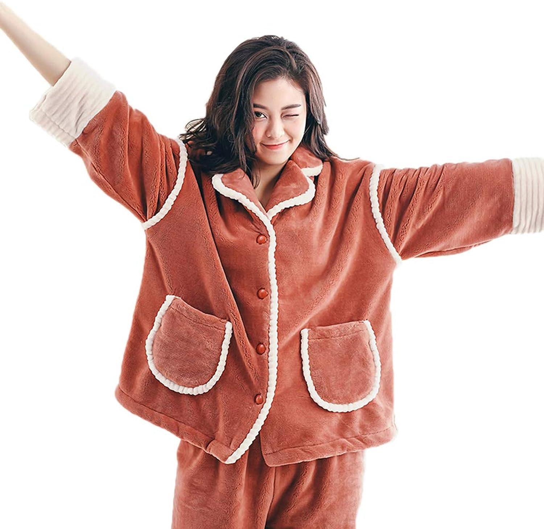 Nightgowns Pajamas Women's Pajamas Coral Velvet Pajamas Plus Velvet Loose Lapel Home Service Winter Padded Pajamas Warm Suit can be Worn Pajama Sets (color   Brown, Size   XL)