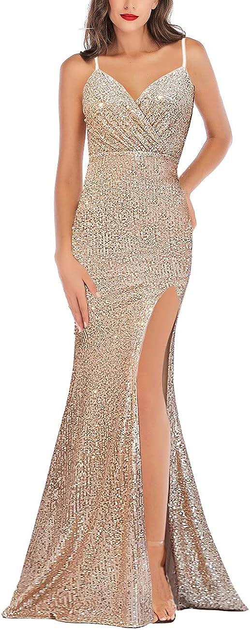 A ARFAR Prom Dress for Women Sphagetti Strap Sequin Party Dress Sexy Split Women's V-Neck Formal Maxi Dresses Summer