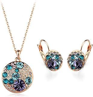 مطلي بالذهب ميكي ماوس مع الأزرق والأرجواني سواروفسكي عناصر كريستال قلادة قلادة أزياء مجموعة مجوهرات Leverback للبنات