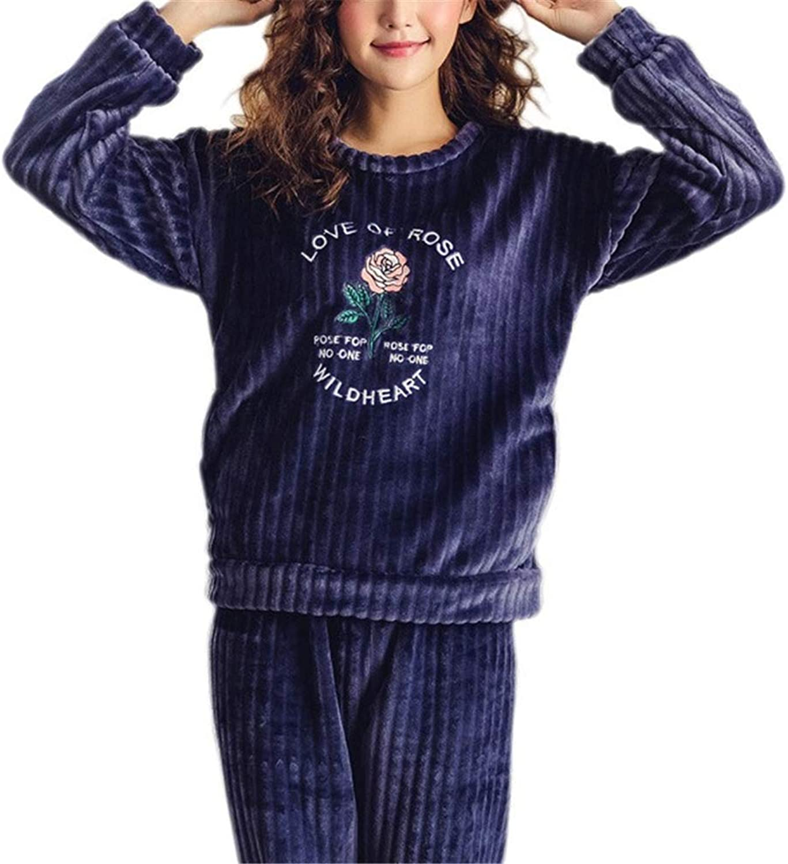 LeeQn Autumn Winter Women Warm Embroidery Flannel Cute Round Neck Suit Nightclothes