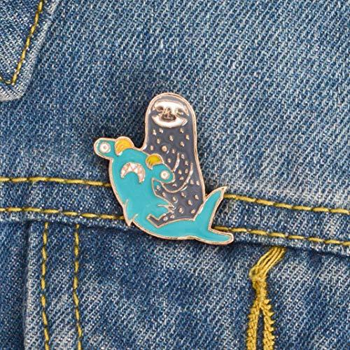 Emaille-Brosche mit niedlicher Kreativer Brosche für Jacken, Rucksäcke, Kleidung, niedlicher Hai, Faultier, Emaille, Anstecknadel, Anstecker, Jeansbeutel, Schmuck – Blau