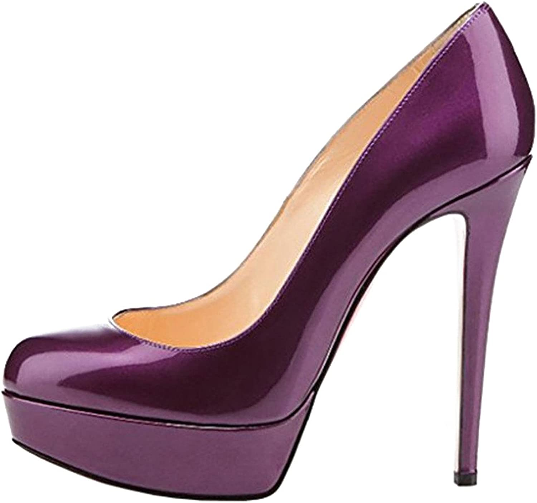 Calaier Womens Casoon Round Toe 14CM Stiletto Slip on Pumps shoes