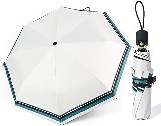 日傘 折りたたみ傘 ワンタッチ 自動開閉 8本骨 おりたたみ傘 レディース UPF50+ UVカット率99% 遮光 遮熱 耐風 撥水 晴雨兼用 (ホワイト)