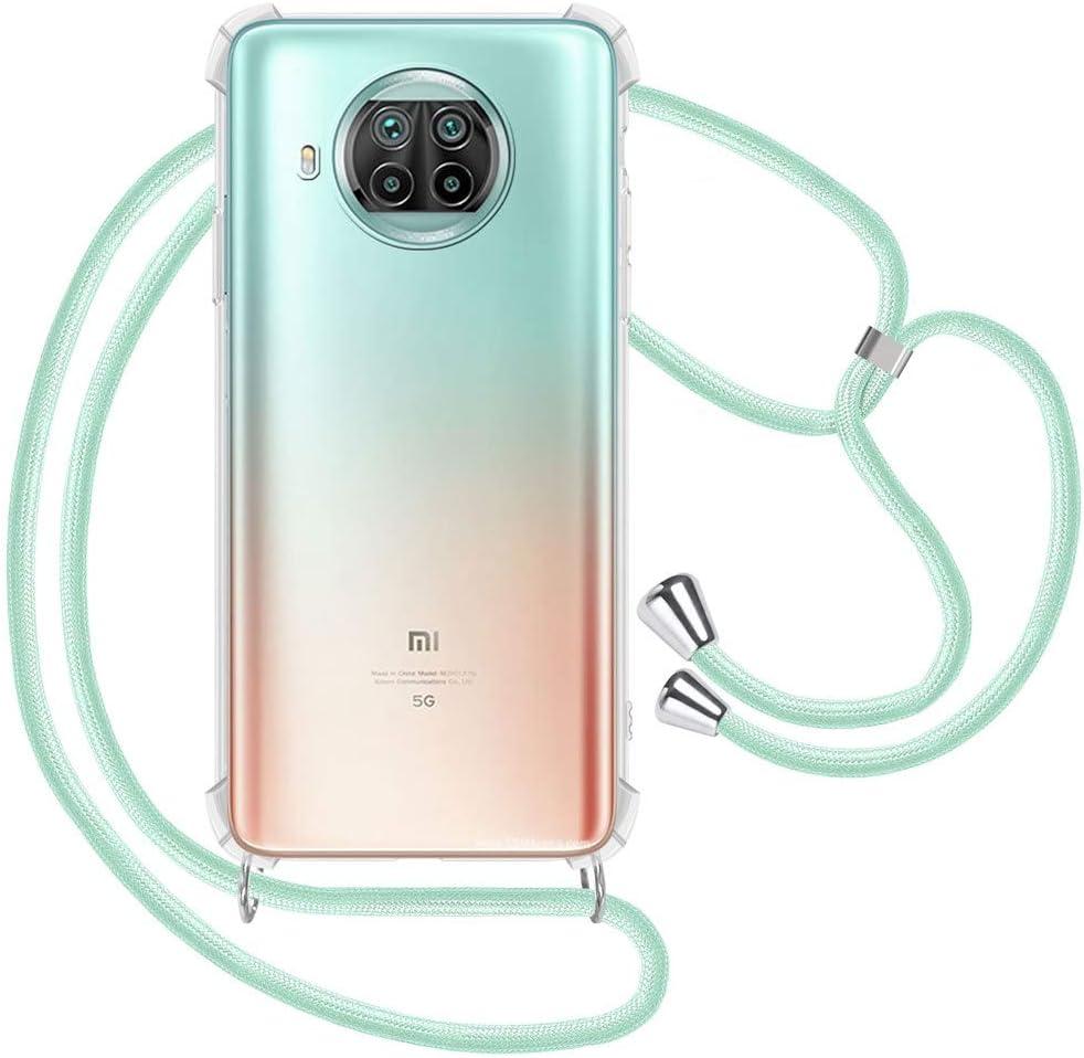 Etui de T/él/éphone avec Cordon Transparente Silicone Housse avec Cordage Lanyard Case Tour de Cou Lani/ère en Corde Collier pour Xiaomi Mi 10T Lite Coque Or Rose