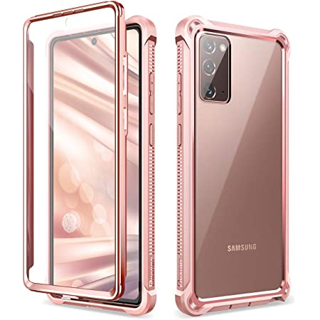 Dexnor for Galaxy Note 20 Case with Screen Protector Clear Electroplated Metal 360 Full Body Rugged Protective Shockproof Hard Cover Heavy Duty Defender Bumper Case for Samsung Note 20 5G - Pink