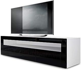Mesa Baja para TV Valencia Cuerpo en Blanco Mate/Frente en Negro de Alto Brillo con Marco en Negro de Alto Brillo