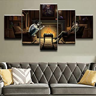 FUZI00 5 Piece Wall Art Canvas Prints Canvas Mural HD Print Animation Death Poster Home Decoration Painting boy Bedroom Picture Framed (31.5X59 Inch