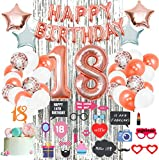 18th Birthday Decorations by Serene Selection, 18 year old Cake Topper, Happy birthday and Number balloons, Bday decoration for Girl, Rose Gold Party Supplies, Decor Gifts for Girls,