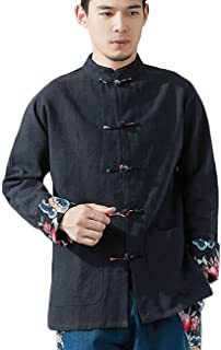 LZJN Men's Chinese Traditional Style Shirts Tang Suit Kung Fu Jacket Traditional Shirt