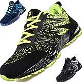 SUADEEX Zapatos de Seguridad Hombre con Punta de Acero Ultraligero Transpirables Zapatos de Trabajo Cómodas Zapatos de Deportiva, para Industria y Construcción Verde 43