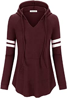 LASLULU Womens Striped Hoodie Sweatshirt Pullover Tops Workout Athletic Pockets