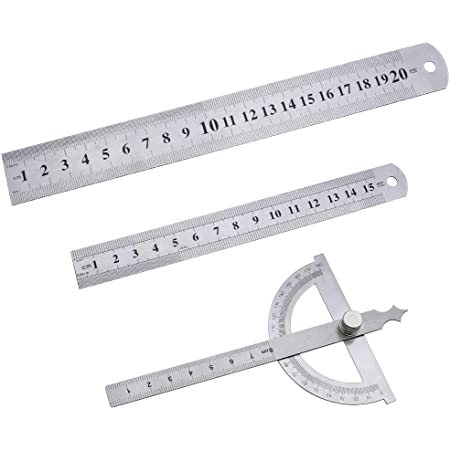 SPTwj Ensemble de règles en acier comprend des outils de mesure en acier inoxydable de règle de 180 degrés de règle en métal de 15 cm et 20 cm
