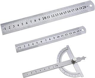 SPTwj Metall Lineal Doppelseitenskala Stahllineale Winkelmesser 180 Grad/15 cm Lineal Umzugehen/20 cm Maßlineal Edelstahl