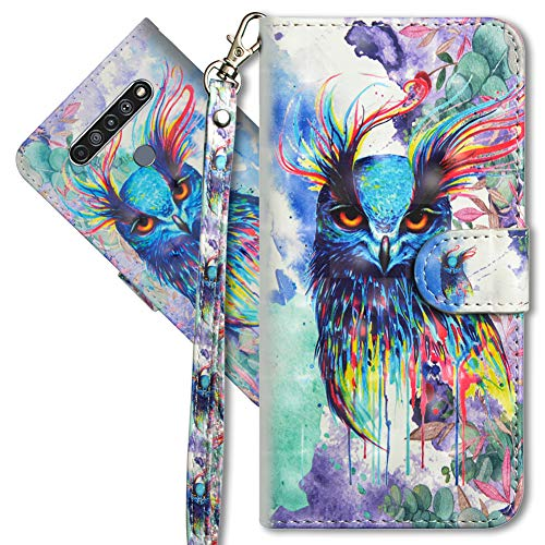 MRSTER LG K61 Handytasche, Leder Schutzhülle Brieftasche Hülle Flip Hülle 3D Muster Cover mit Kartenfach Magnet Tasche Handyhüllen für LG K61. YX 3D Colorful Owl