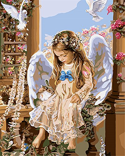 CaptainCrafts New DIY Oil Painting, Paint by Numbers Kits 16x20' for Adults, Beginner Kids, Children Linen Canvas - About Angel, Angel Girl (Frameless)
