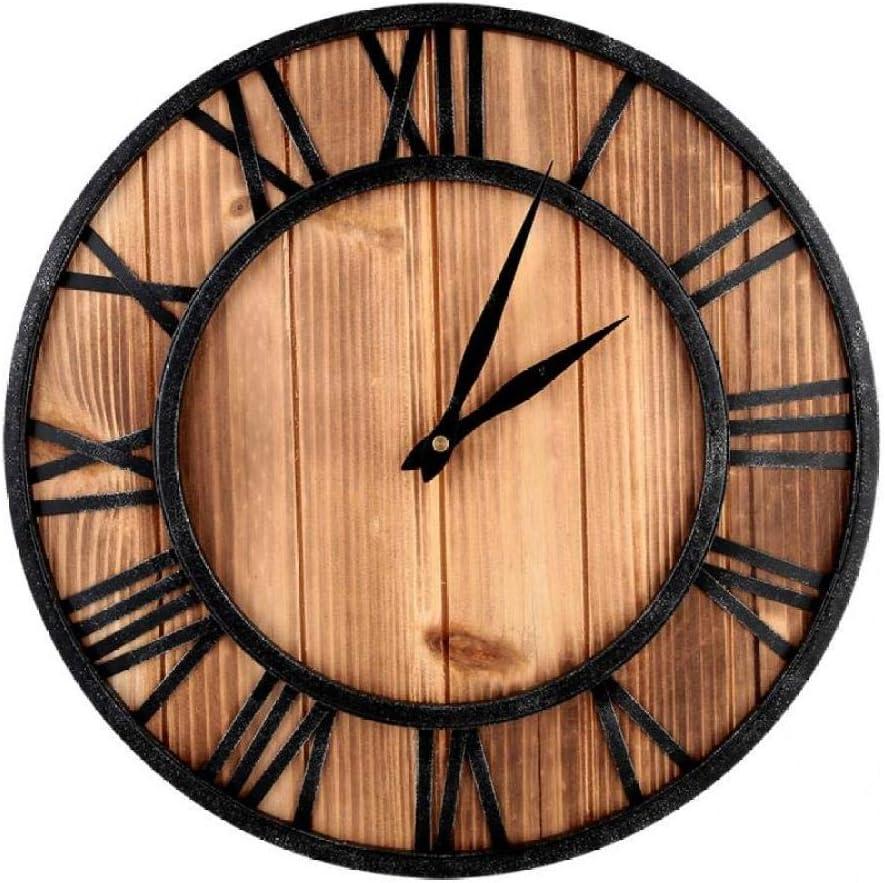 yaoyao Wall スピード対応 全国送料無料 期間限定特価品 Clock 40Cm Solid Wood European S Wrought Iron Modern