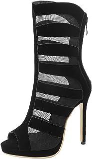 AicciAizzi Women Fashion Shoes Peep Toe Summer Boots High Heel