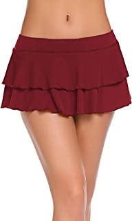 Avidlove Women Pleated Mini Skirt Solid Ruffle Lingerie Skirts