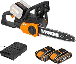 WORX 40V Akku Kettensäge WG381E, 2 x 2,0Ah, Powershare, Werkzeugloses Kettenspannsystem,..