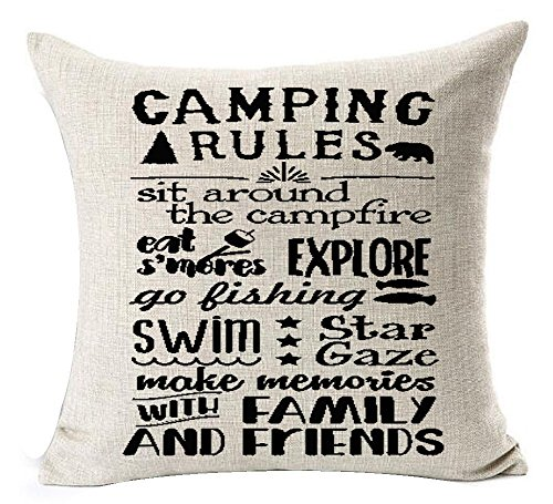 Camping Rules Pillow Cover